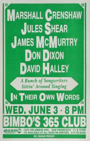"""Marshall Crenshaw Poster from Bimbo's 365 on 03 Jun 92: 11"""" x 17"""""""