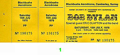 Bob Dylan 1970s Ticket from Blackbushe Aerodrome on 15 Jul 78: Ticket One