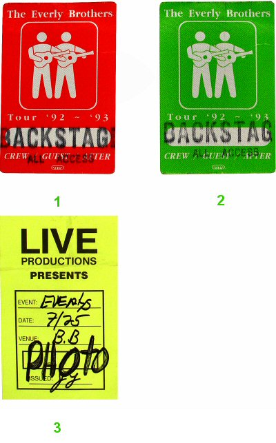 Everly Brothers Backstage Pass from B.B. King Blues Club &amp;amp; Grill on 25 Jul 93: Pass 3