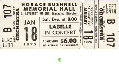 LaBelle 1970s Ticket from Bushnell Memorial Auditorium on 18 Jan 75: Ticket One