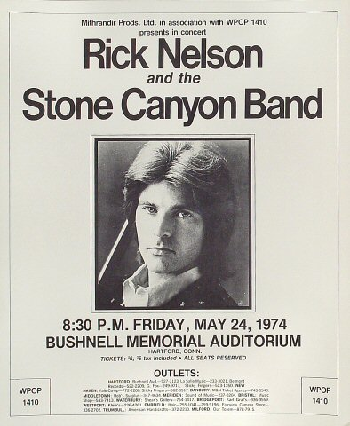 "Rick Nelson Poster from Bushnell Memorial Auditorium on 24 May 79: 14 1/16"" x 17 1/4"""
