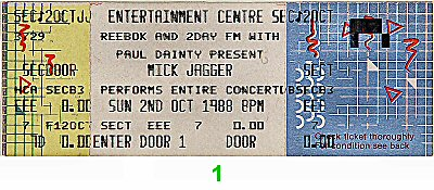Mick Jagger 1980s Ticket from BNE Entertainment Center on 02 Oct 88: Ticket One