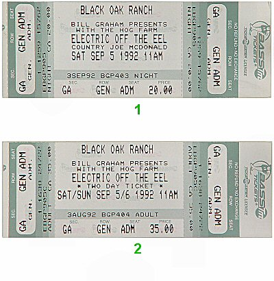 Country Joe McDonald 1990s Ticket from Black Oak Ranch on 05 Sep 92: Ticket One