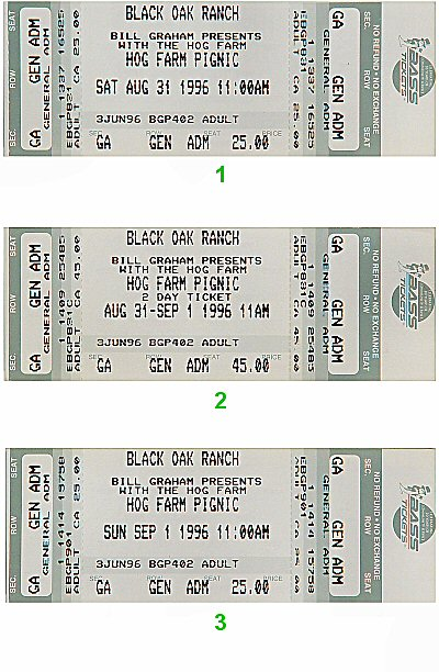 Ani DiFranco 1990s Ticket from Black Oak Ranch on 31 Aug 96: Ticket Two