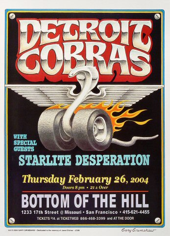 "The Detroit Cobras Poster from Bottom of the Hill on 26 Feb 04: 13"" x 17 1/2"""