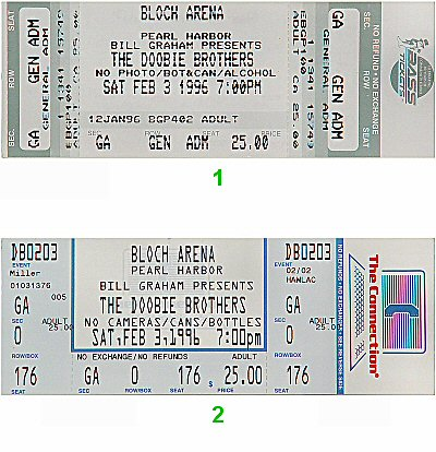 The Doobie Brothers 1990s Ticket from Bloch Arena on 03 Feb 96: Ticket Two