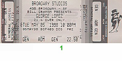 George Lopez 1990s Ticket from Broadway Studios on 05 May 98: Ticket One