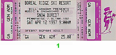 Pennywise 1990s Ticket from Boreal Ski Area on 12 Apr 97: Ticket One