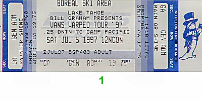 Social Distortion 1990s Ticket from Boreal Ski Area on 05 Jul 97: Ticket One