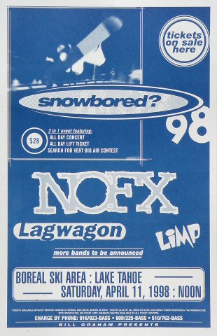 "NOFX Poster from Boreal Ski Area on 11 Apr 98: 11"" x 17"""