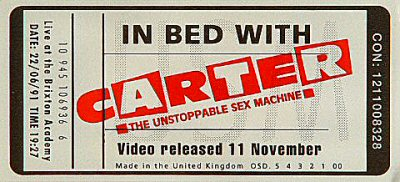 Carter the Unstoppable Sex Machine Sticker from Brixton Academy on 22 Jun 91: Promo Sticker