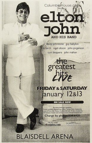 "Elton John Poster from Blaisdell Arena on 12 Jan 01: 11"" x 17"""