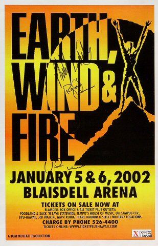 "Earth, Wind & Fire Poster from Blaisdell Arena on 05 Jan 02: 11"" x 17"""