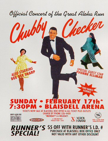 "Chubby Checker Handbill from Blaisdell Arena on 17 Feb 02: 4 1/4"" x 5 1/2"""