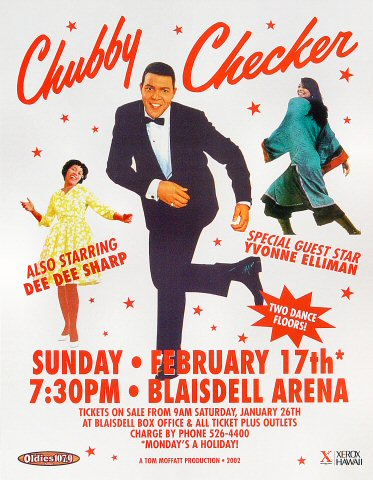 "Chubby Checker Handbill from Blaisdell Arena on 17 Feb 02: 8 1/2"" x 11"""