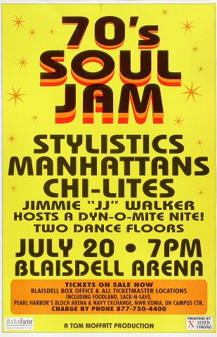 "The Stylistics Poster from Blaisdell Arena on 20 Jul 03: 11"" x 17"""