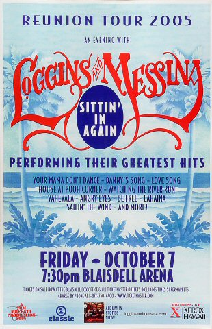 "Loggins and Messina Poster from Blaisdell Arena on 07 Oct 05: 11"" x 17"""
