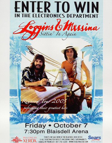 "Loggins and Messina Poster from Blaisdell Arena on 07 Oct 05: 11"" x 14"""