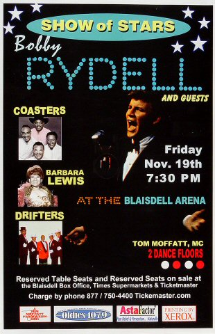 "Bobby Rydell Poster from Blaisdell Arena on 19 Nov 05: 11"" x 17"""