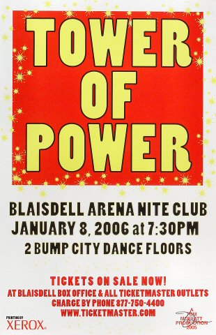"Tower of Power Poster from Blaisdell Arena on 08 Jan 06: 11"" x 17"""