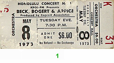 Beck Bogert & Appice 1970s Ticket from Blaisdell Arena on 08 May 73: Ticket One