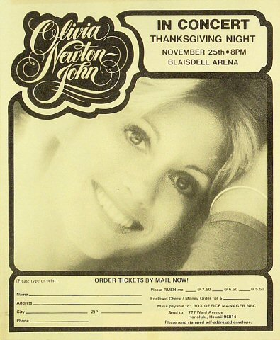 "Olivia Newton-John Handbill from Blaisdell Arena on 25 Nov 76: 7"" x 8 1/2"""