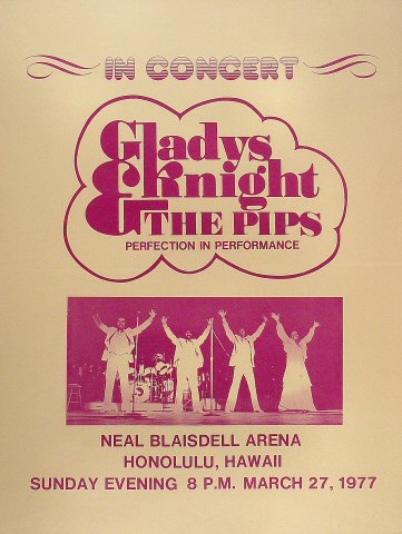 "Gladys Knight and the Pips Poster from Blaisdell Arena on 27 Mar 77: 17 1/2"" x 23 1/8"""