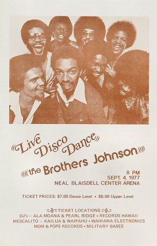 "The Brothers Johnson Handbill from Blaisdell Arena on 04 Sep 77: 5 1/2"" x 8 1/2"""