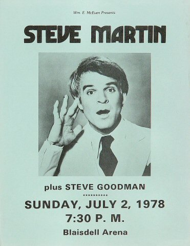 "Steve Martin Handbill from Blaisdell Arena on 02 Jul 78: 8 1/2"" x 11"""