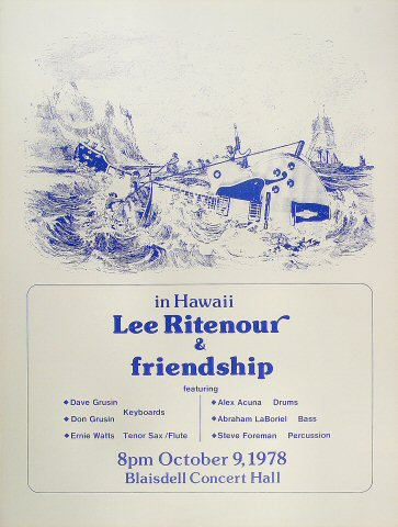 "Lee Ritenour Poster from Blaisdell Arena on 09 Oct 78: 17 1/2"" x 22"""
