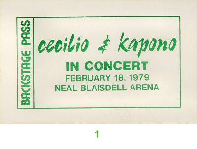 Cecilio and Kapono Backstage Pass from Blaisdell Arena on 18 Feb 79: Pass 1