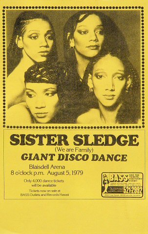 "Sister Sledge Handbill from Blaisdell Arena on 05 Aug 79: 5 3/8"" x 8 1/2"""