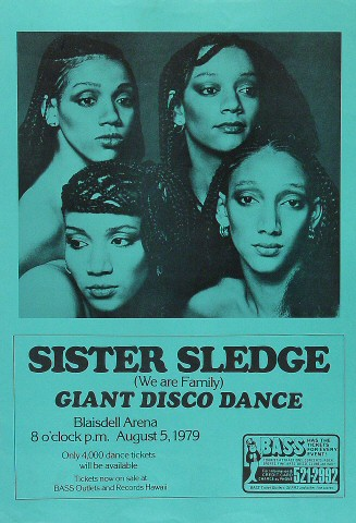 "Sister Sledge Poster from Blaisdell Arena on 05 Aug 79: 11"" x 16"""