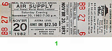 Air Supply 1980s Ticket from Blaisdell Arena on 20 Nov 82: Ticket One