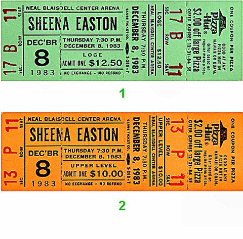 Sheena Easton 1980s Ticket from Blaisdell Arena on 08 Dec 83: Ticket One