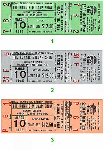 Ronnie Milsap 1980s Ticket from Blaisdell Arena on 10 Mar 85: Ticket One