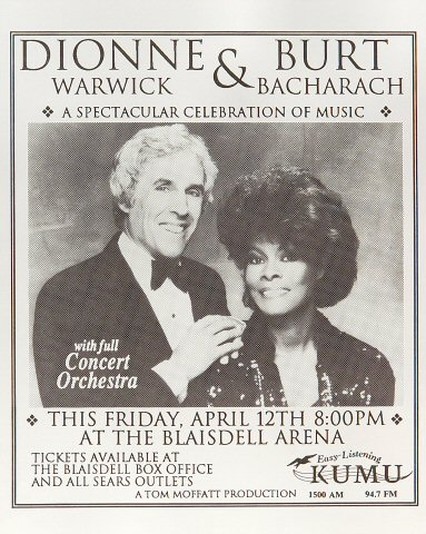 "Burt Bacharach Handbill from Blaisdell Arena on 12 Apr 85: 8 3/4"" x 11"""