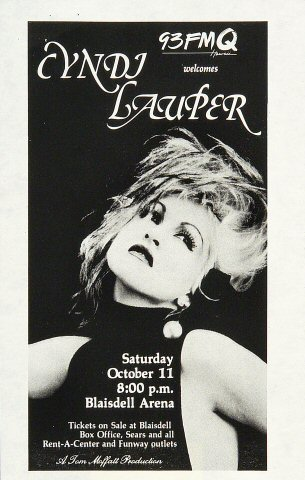 "Cyndi Lauper Handbill from Blaisdell Arena on 11 Oct 86: 5 1/2"" x 8 1/2"""
