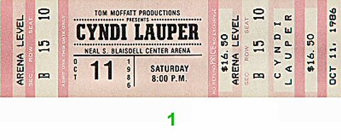 Cyndi Lauper 1980s Ticket from Blaisdell Arena on 11 Oct 86: Ticket One