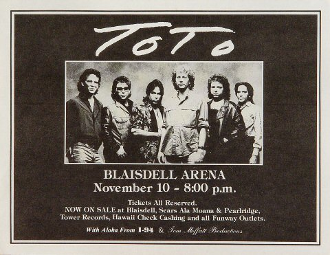 "Toto Handbill from Blaisdell Arena on 10 Nov 86: 8 1/2"" x 11"""