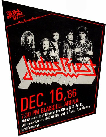 "Judas Priest Poster from Blaisdell Arena on 16 Dec 86: 15 3/4"" x 21 1/2"""