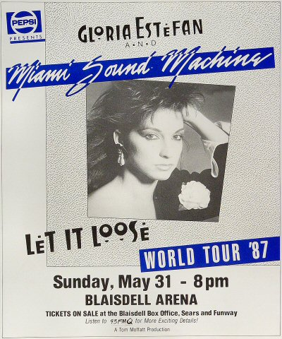 "Miami Sound Machine Poster from Blaisdell Arena on 31 May 87: 11"" x 13 1/4"""