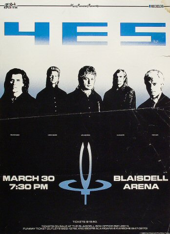 "Yes Poster from Blaisdell Arena on 30 Mar 88: 16"" x 22"""