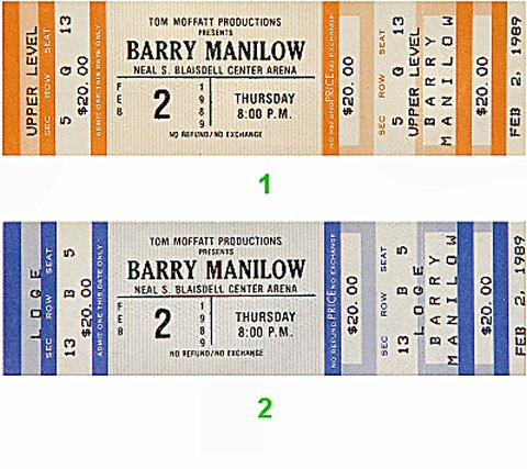 Barry Manilow 1980s Ticket from Blaisdell Arena on 02 Feb 89: Ticket Two