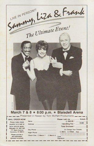 """Sammy Davis Jr. Handbill from Blaisdell Arena on 07 Mar 89: 5 1/2"""" x 8 1/2"""""""