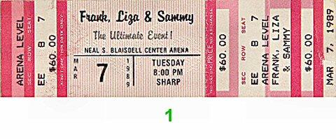 Sammy Davis Jr. 1980s Ticket from Blaisdell Arena on 07 Mar 89: Ticket One