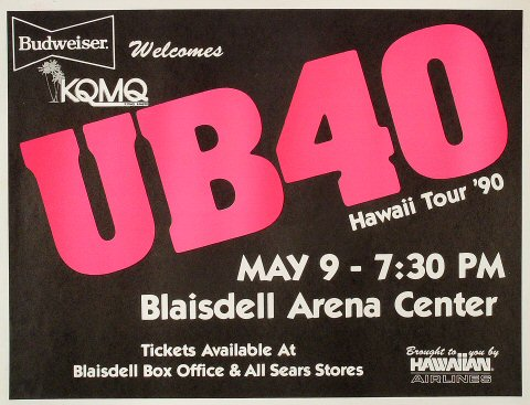 "UB40 Poster from Blaisdell Arena on 09 May 90: 16 1/2"" x 21 1/2"""