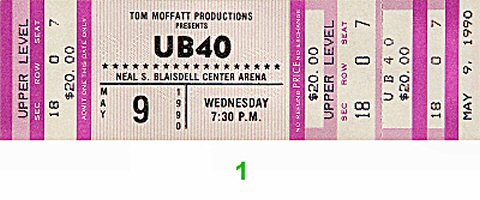 UB40 1990s Ticket from Blaisdell Arena on 09 May 90: Ticket One