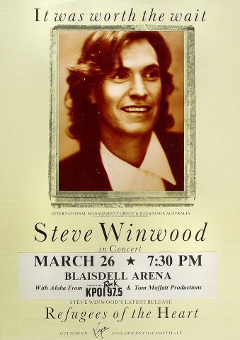 "Steve Winwood Poster from Blaisdell Arena on 26 Mar 91: 16 1/2"" x 23 3/8"""