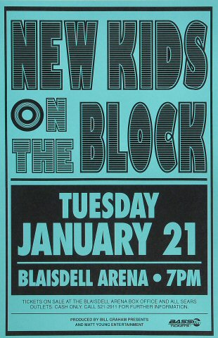 "New Kids On The Block Poster from Blaisdell Arena on 21 Jan 92: 11"" x 17"""